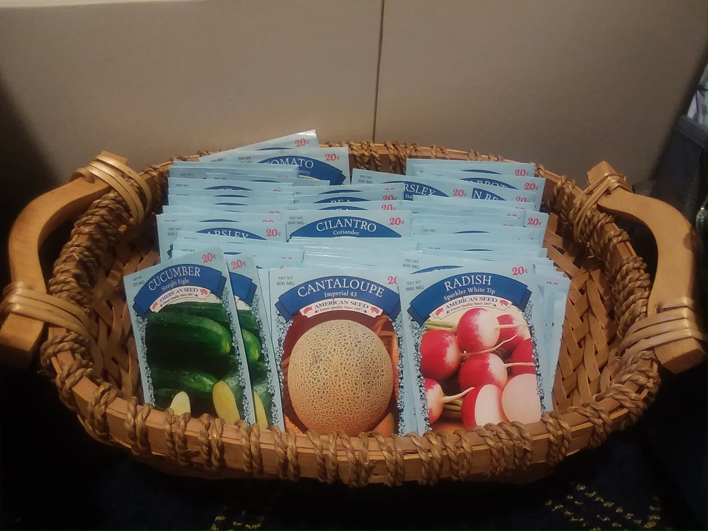 basket of seed packet